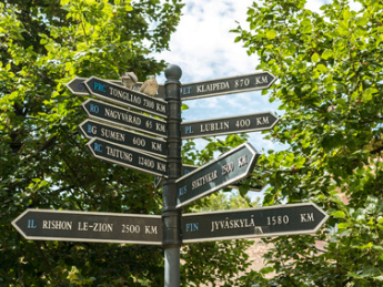 Direction Signs Indicate Distances To Different Cities Hungary